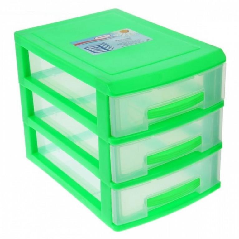 Мини комод 3-х салатовый/ящик прозрачный
