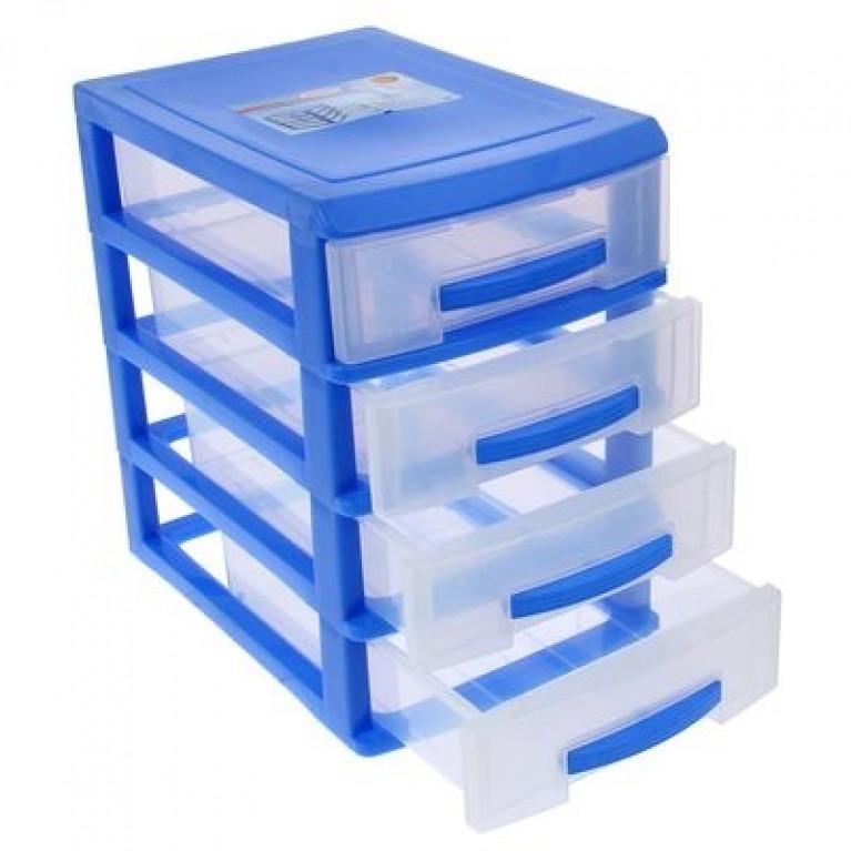 Мини комод 4-х темно голубой/ящик прозрачный