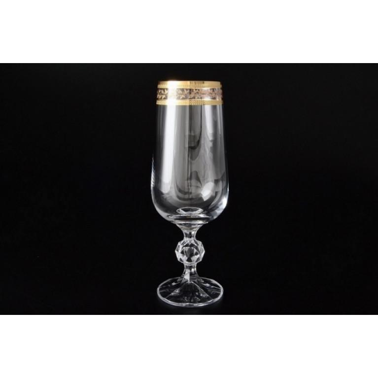 Набор фужеров для шампанского 280мл Клаудия Золотойлист V-D 6шт