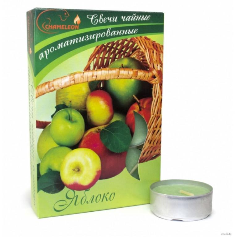 Свечи ароматизированные чайные в гильзе яблоко 6шт.
