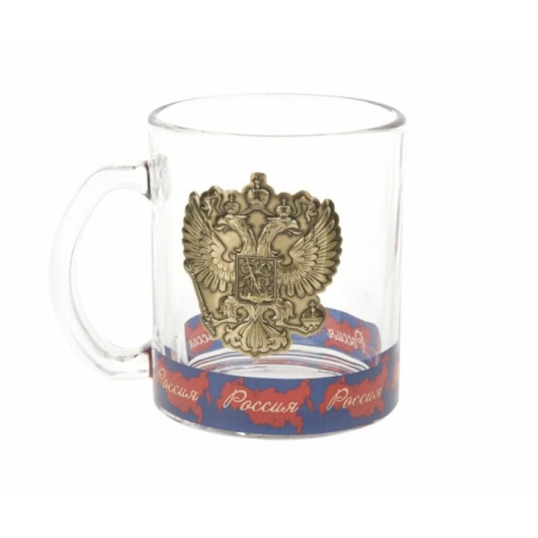Кружка стеклянная Россия v=335мл (подарочная упаковка)