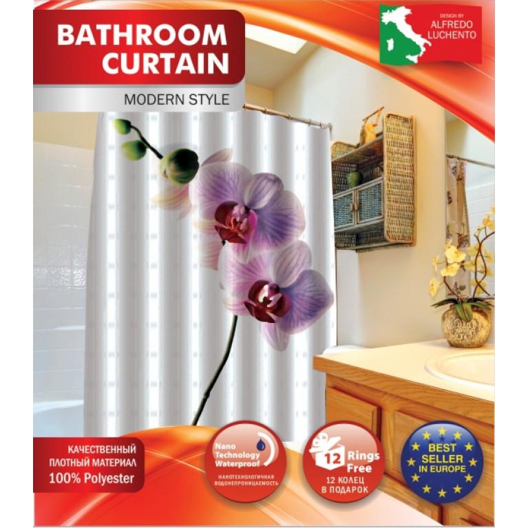Шторка для ванной Орхидея