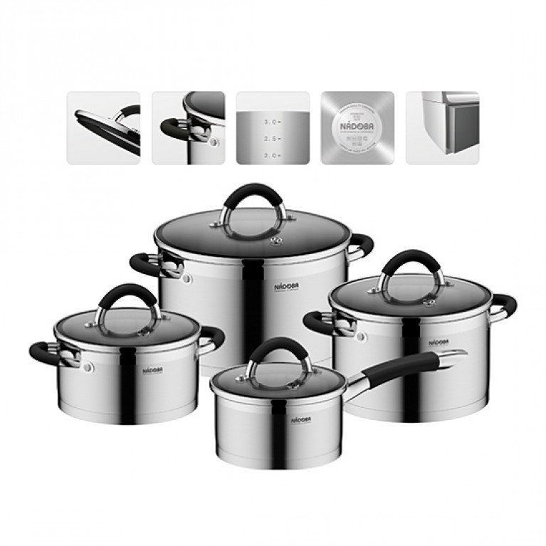 Набор наплитной посуды из нержавеющей стали 8 пр. NADOBA серия OLINA
