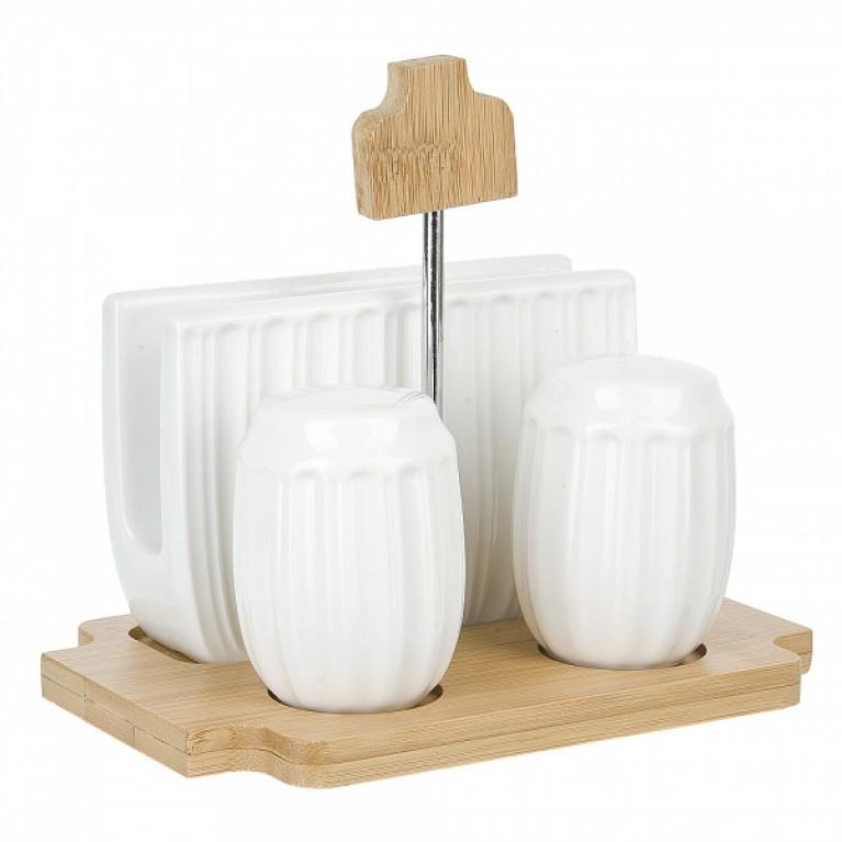 Набор для специй солонка/перечница/салфетница Naturel 16x11x14см на бамбуковой подставке