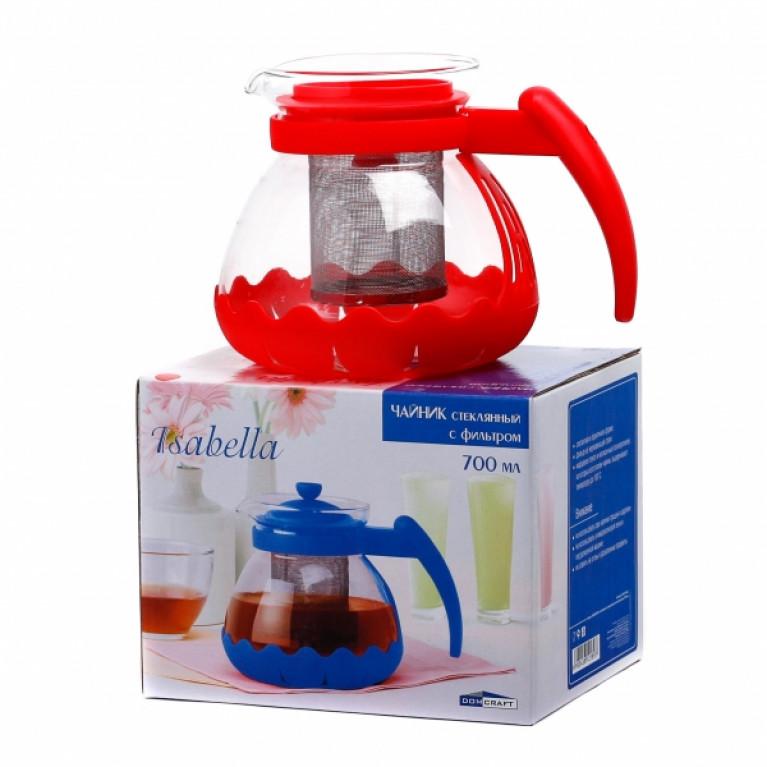Чайник ИЗАБЕЛЛА стеклянный с фильтром металлическим 700мл в ассортименте