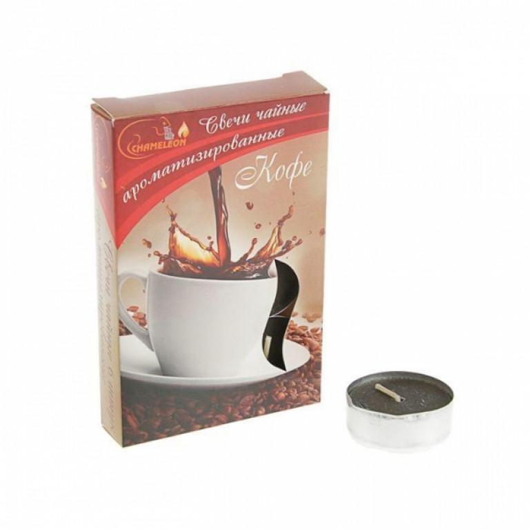 Свечи ароматизированные чайные в гильзе кофе 6шт.