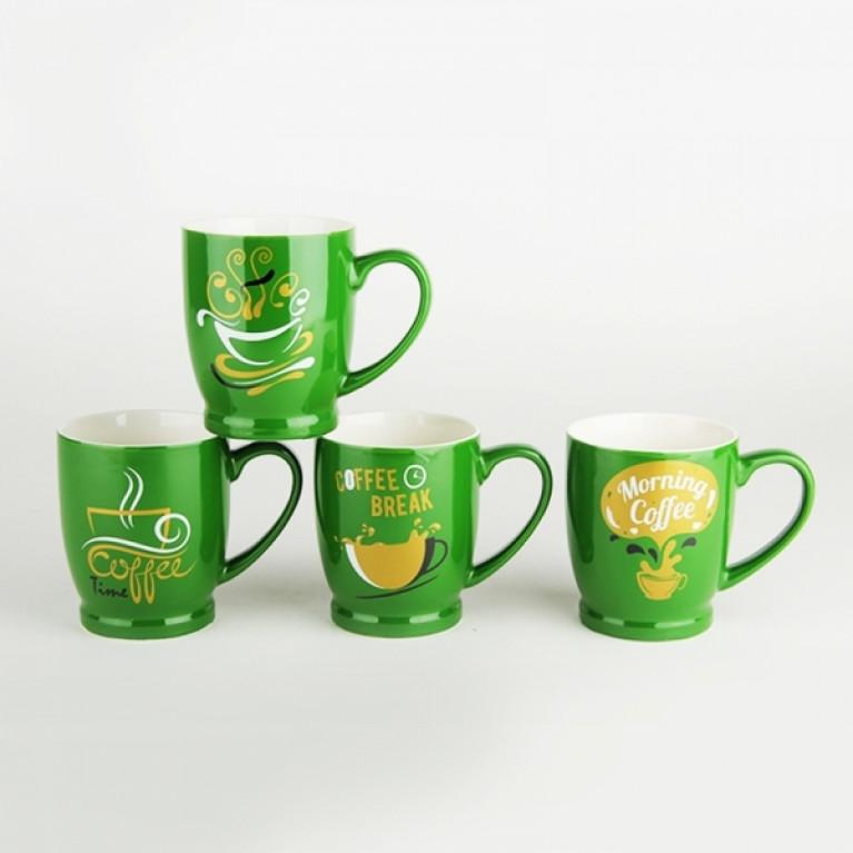 Кружка 320мл на ножке ZC02-AH31 Кофе на зеленом (4 диз)