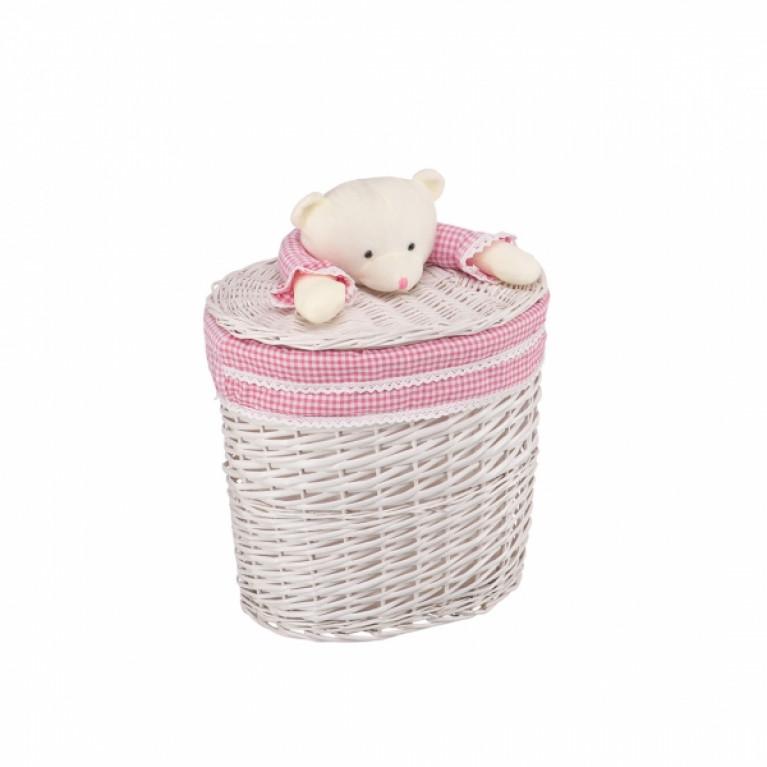 Корзина бельевая Медвежонок розовый M 41x29x40Hсм молочный