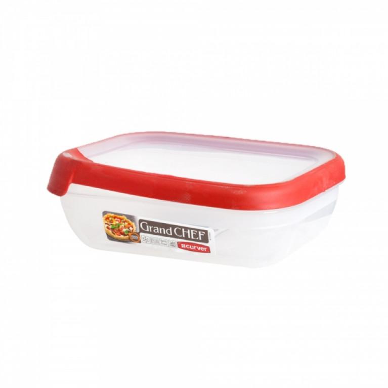 Емкость для морозилки и СВЧ GRAND CHEF 1.2л прямоугольная (красная крышка)