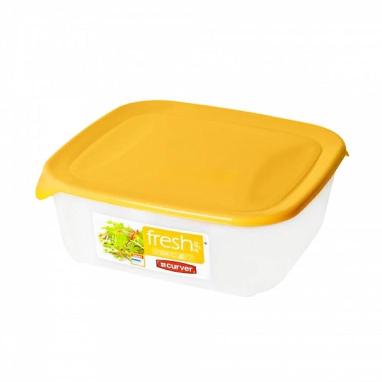Контейнер для СВЧ FRESH&GO 0.8л желтый квадратный