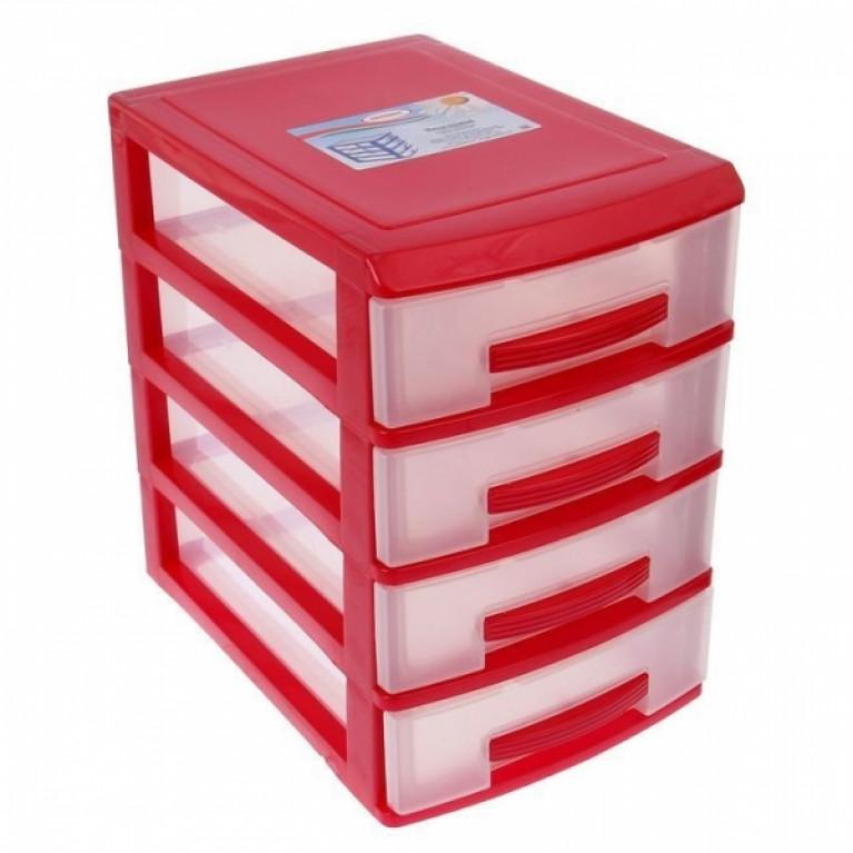 Мини комод 4-х красный-перламутр/ящик прозрачный
