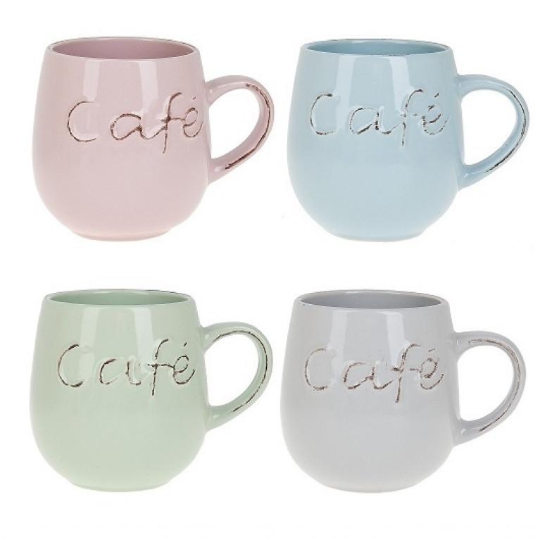 Кружка керамическая Cafe v=540мл (4вида)