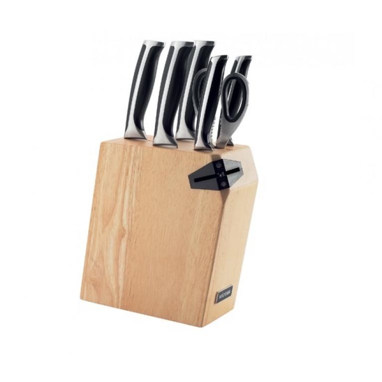 Набор из 5 кухонных ножей ножниц и блока для ножей с ножеточкой NADOBA серия URSA
