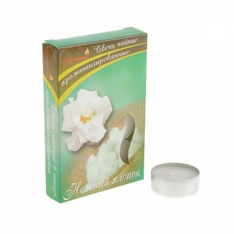 Свечи ароматизированные чайные в гильзе нежный хлопок 6шт.