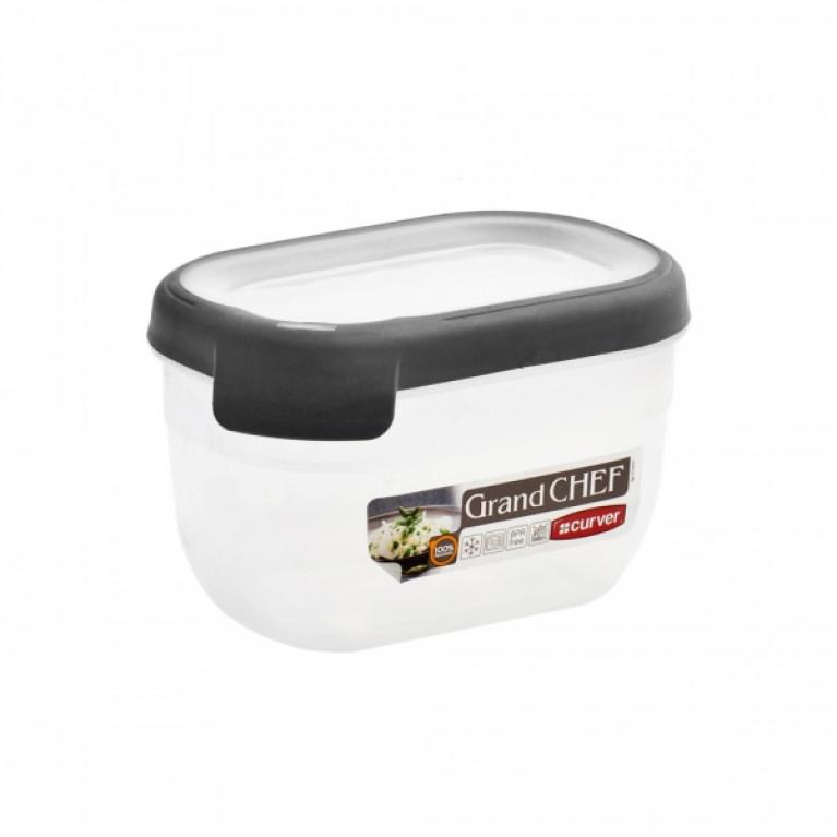 Емкость для морозилки и СВЧ GRAND CHEF 0.75л прямоугольная (серая крышка)