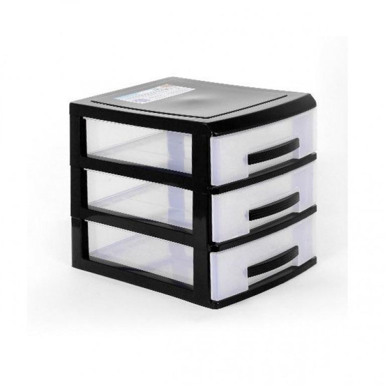 Мини комод 3-х черный/ящик прозрачный