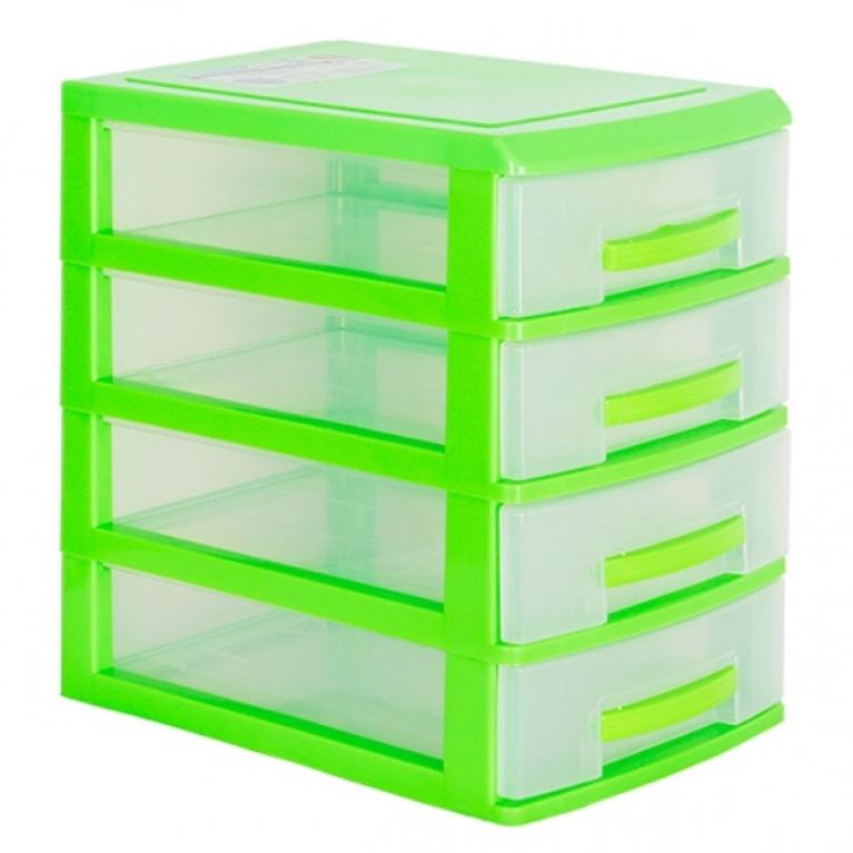 Мини комод 4-х салатовый/ящик прозрачный