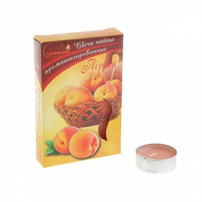 Свечи ароматизированные чайные в гильзе персик 6шт.