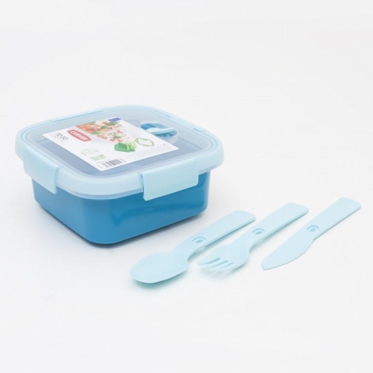 Контейнер пищевой квадратный с приборами TO GO 0.9л голубой
