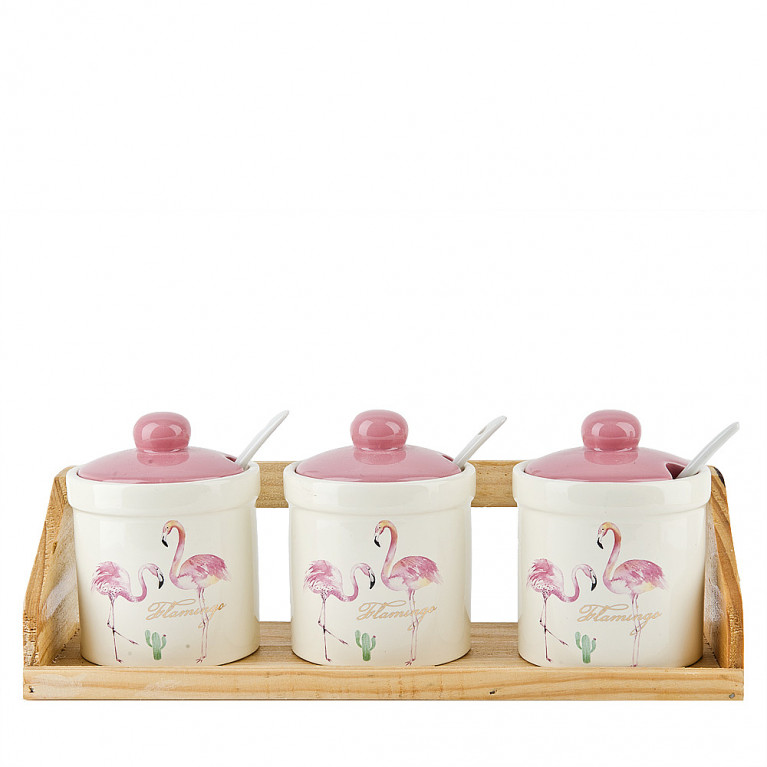 """Банки для сыпучих продуктов, набор 3 шт + ложки """"Фламинго"""" , 240мл на деревянной подставке"""