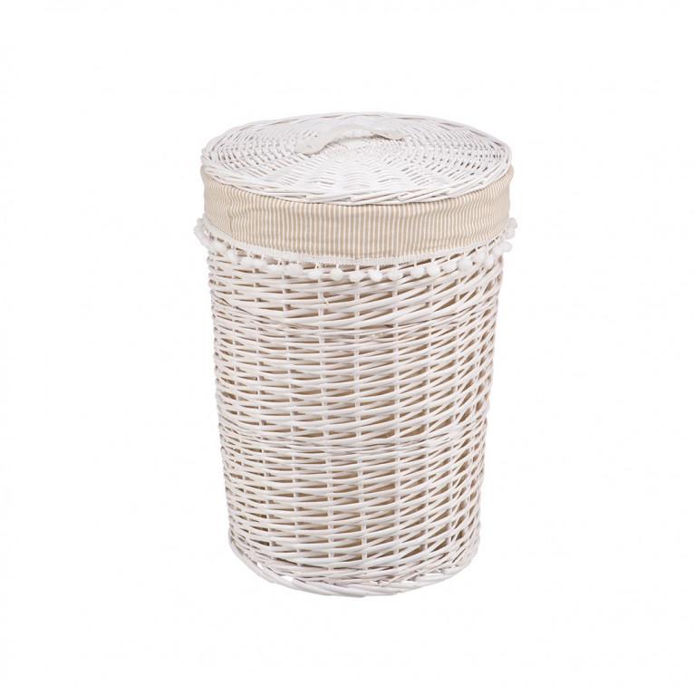 Корзина бельевая круглая Колокольчик L DIA40*56H белый