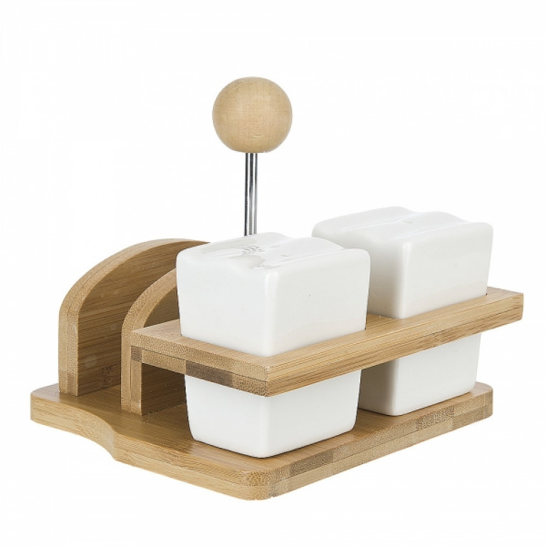 Набор для специй солонка/перечница/салфетница Naturel 14x14x12см на бамбуковой подставке