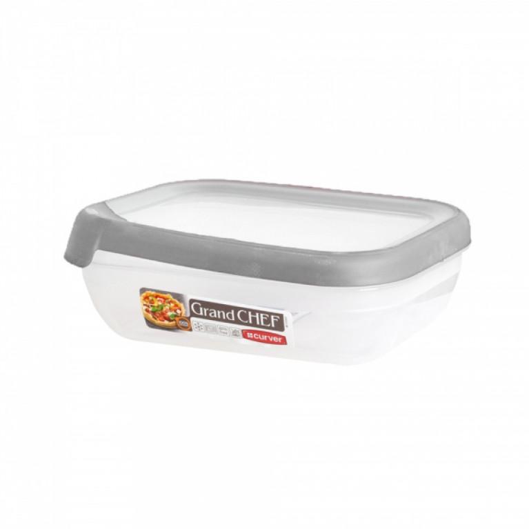 Емкость для морозилки и СВЧ GRAND CHEF 1.2л прямоугольная (серая крышка)