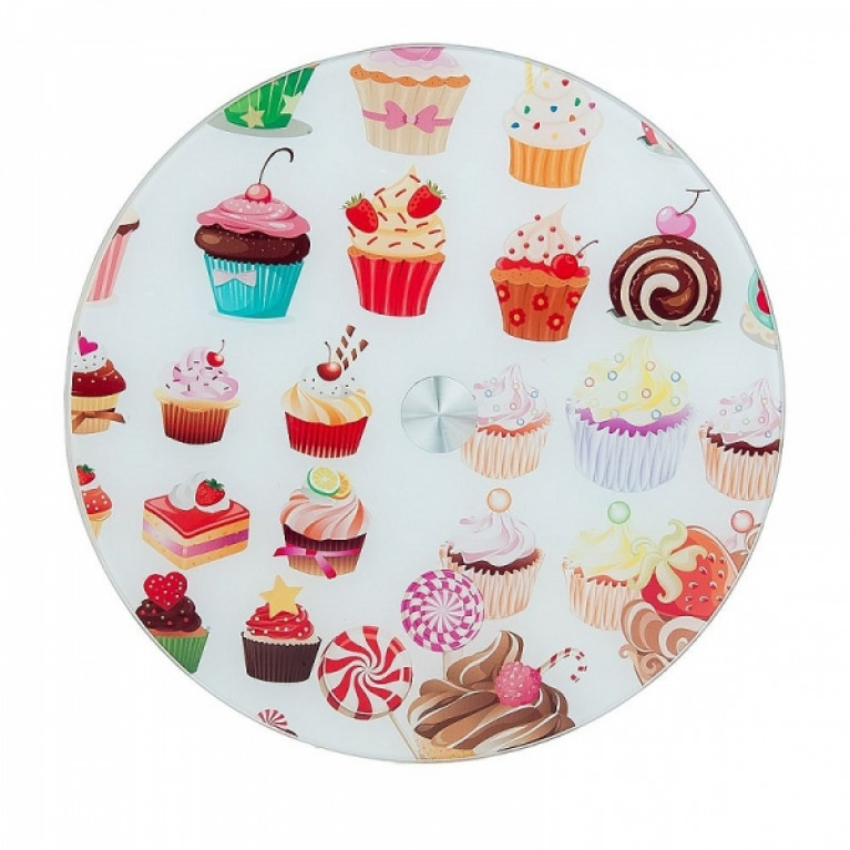 Блюдо вращающееся для сервировки стола Пирожные d=32см h= 22см (нижний d=19см) (стекло)