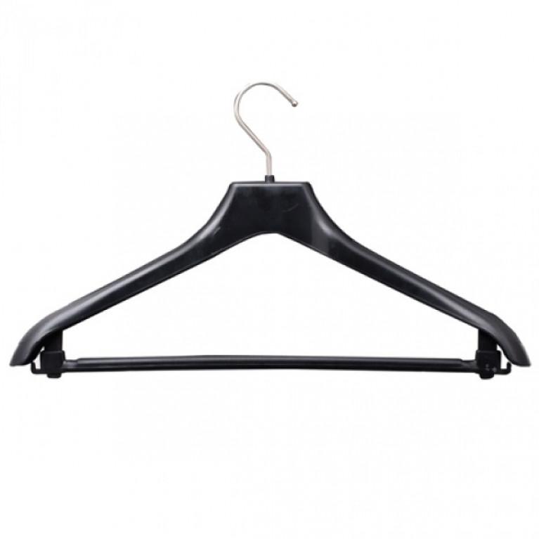 Вешалка-плечики универсальная мод.С-013 46-48 р-р 42x35см пластик/металл черн. без уп.