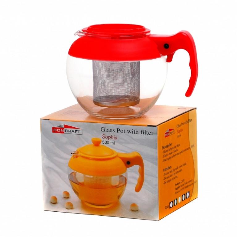 Чайник СОФИЯ стеклянный с фильтром металлическим 500мл в ассортименте