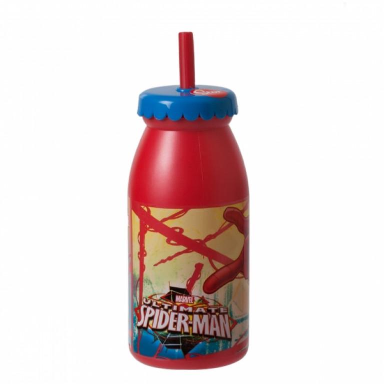 Бутылка с крышкой и трубочкой ЧЕЛОВЕК-ПАУК 300мл