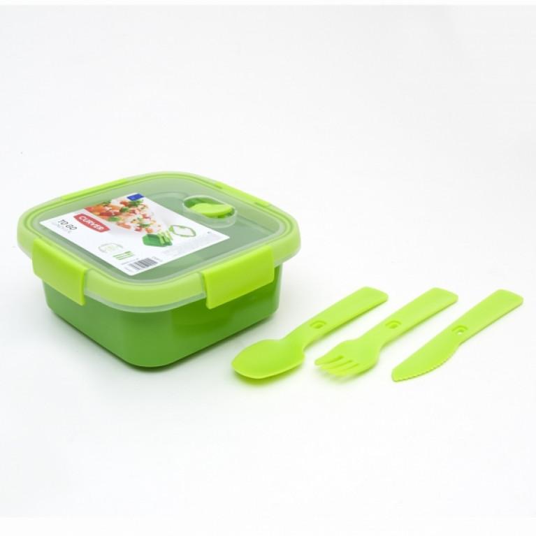 Контейнер пищевой квадратный с приборами TO GO 0.9л зеленый