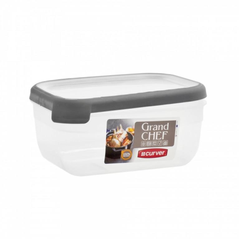Емкость для морозилки и СВЧ GRAND CHEF 1.8л прямоугольная (серая крышка)