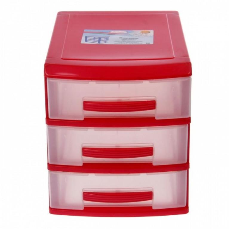 Мини комод 3-х красный-перламутр/ящик прозрачный