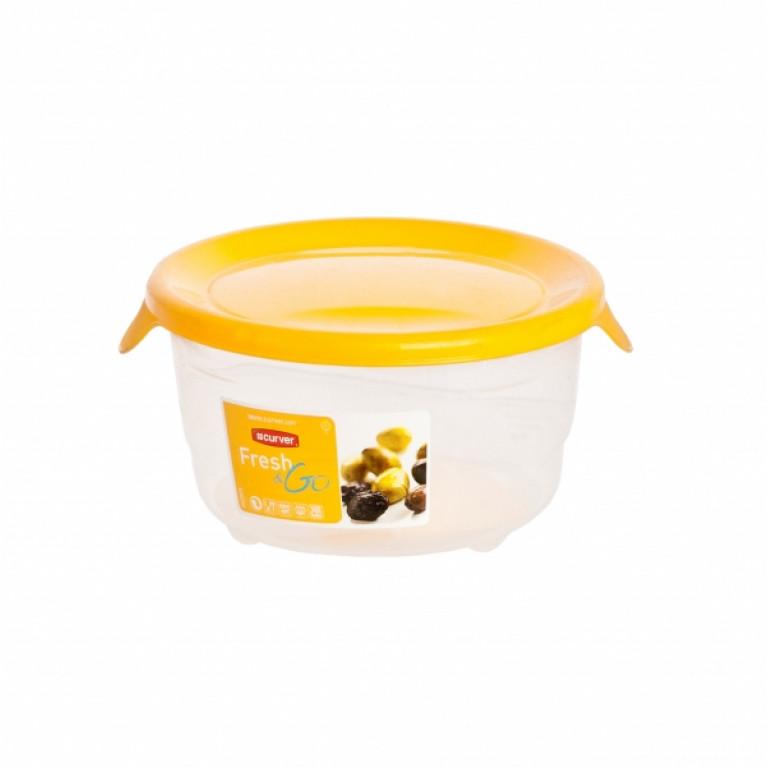 Контейнер для СВЧ FRESH&GO 0.5л желтый круглый