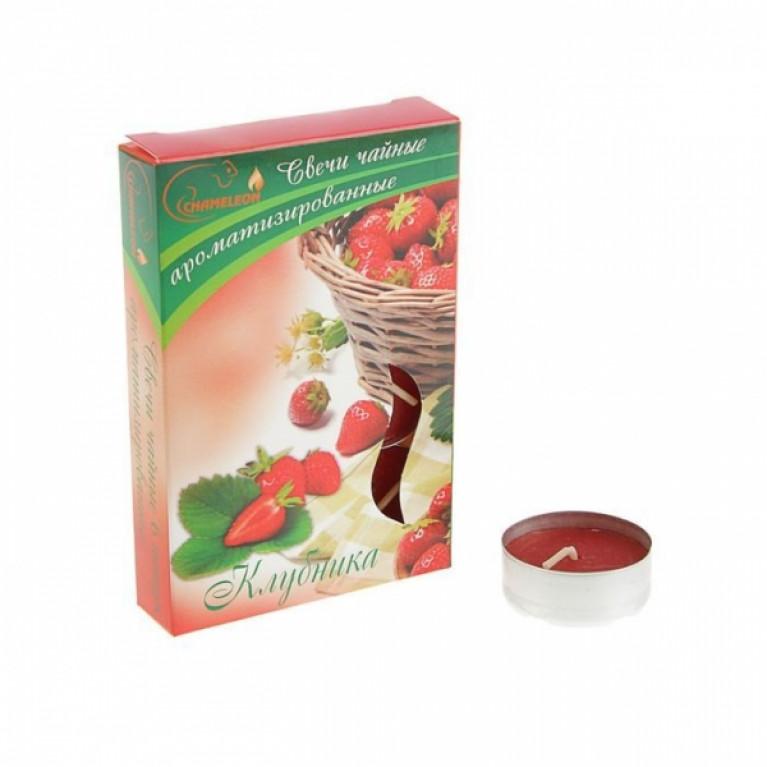 Свечи ароматизированные чайные в гильзе клубника 6шт.