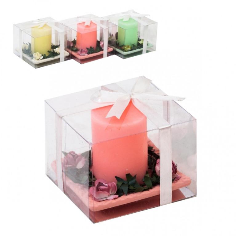Подарочная свеча столбик 8х8х6см