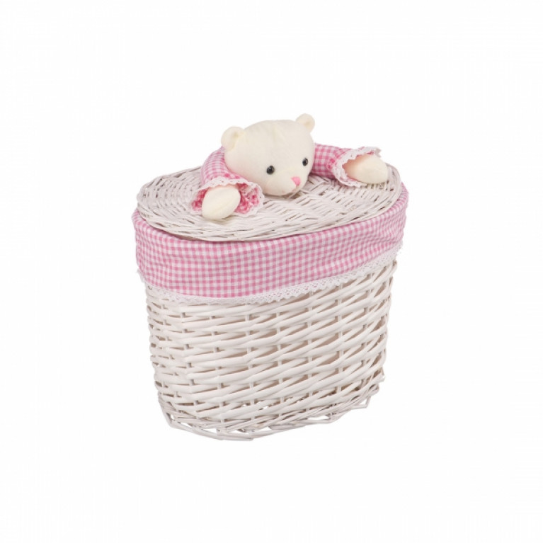 Корзина бельевая Медвежонок розовый S 33x21x28Hсм молочный
