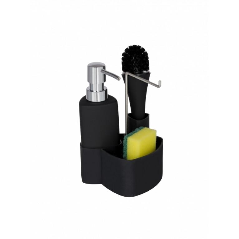 Дозатор для моющего средства с подставкой для губки EMPIRE черный