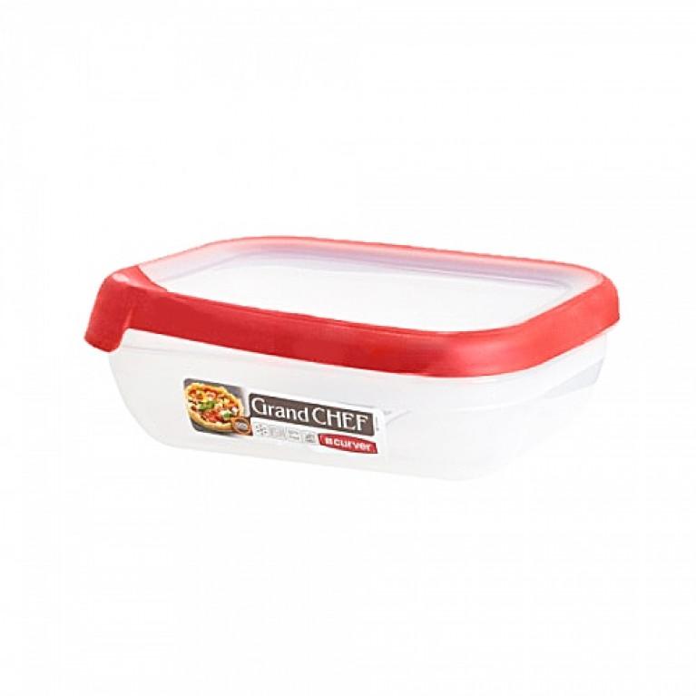 Емкость для морозилки и СВЧ GRAND CHEF 0.5л прямоугольная (красная крышка)