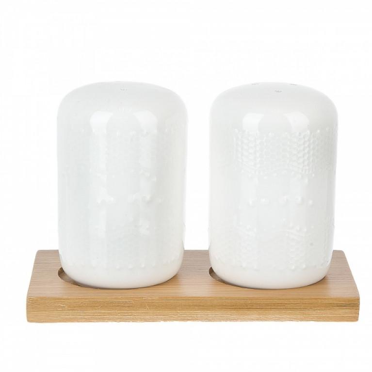 Набор для специй солонка/перечница Naturel (рельефный узор) 125x55x85см на бамбуковой подставке