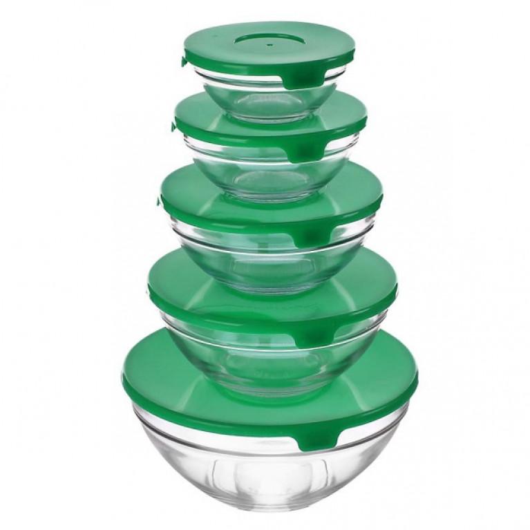 Набор салатников зеленая крышка (GB1401)
