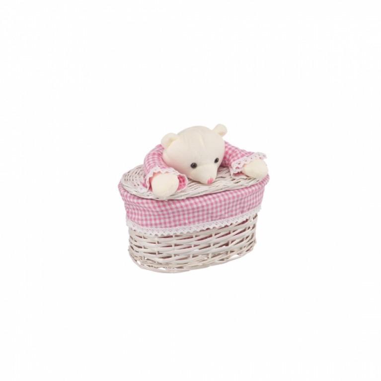 Корзина бельевая Медвежонок розовый XS 26x15x16Hсм молочный