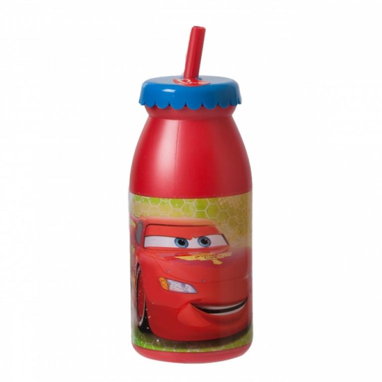 Бутылка с крышкой и трубочкой ТАЧКИ 300мл