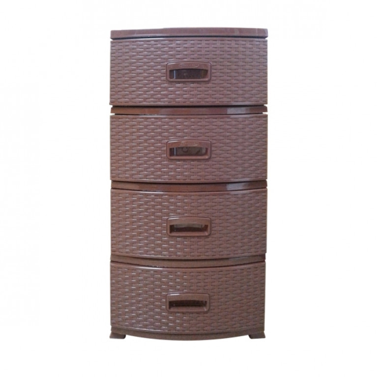 Комод Декор 4-х Ротанг темно-коричневый (РП-421)